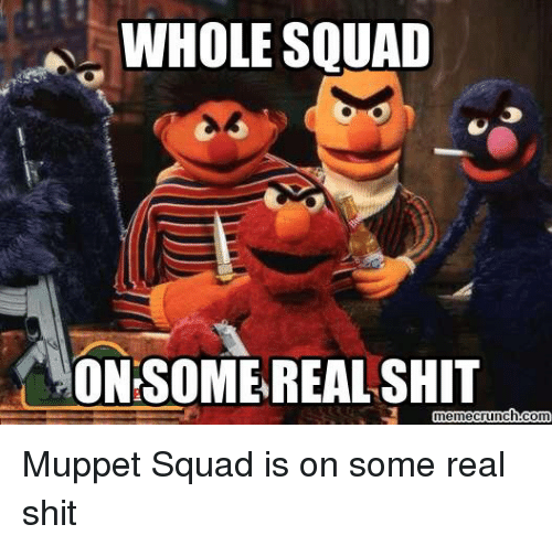 Shit, Squad, and Terrible Facebook: WHOLE SQUAD  ON SOME REAL SHIT  meme crunch com Muppet Squad is on some real shit