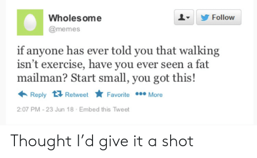 ome: Wholes ome  Follow  @memes  if anyone has ever told you that walking  isn't exercise, have you ever seen a fat  mailman? Start small, you got this!  Reply Retweet  Favorite More  2:07 PM -23 Jun 18  Embed this Tweet Thought I'd give it a shot
