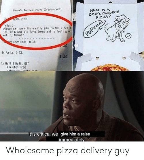 delivery: Wholesome pizza delivery guy