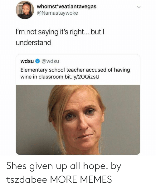 School Teacher: whomst'veatlantavegas  @Namastaywoke  I'm not saying it's right... but I  understand  wdsu @wdsu  Elementary school teacher accused of having  wine in classroom bit.ly/20QizsU Shes given up all hope. by tszdabee MORE MEMES