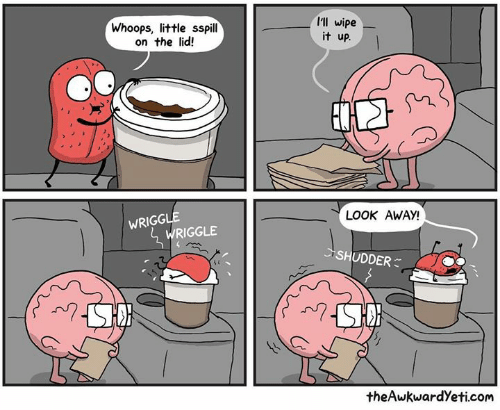 whoops: Whoops, little sspill  on the lid!  I'll wipe  it up.  LOOK AWAY!  WRIGG  WRIGGLE  ごSHUDDER  theAwkwardYeti.com
