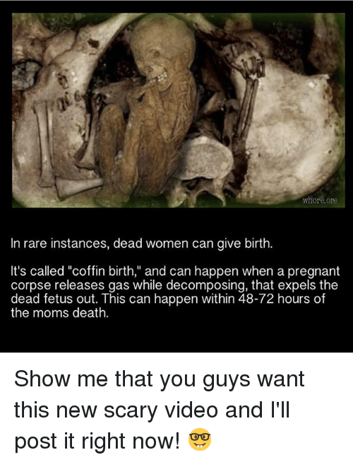 "Whoree: whore.ore  In rare instances, dead women can give birth.  It's called ""coffin birth,"" and can happen when a pregnant  corpse releases gas while decomposing, that expels the  dead fetus out. This can happen within 48-72 hours of  the moms death. Show me that you guys want this new scary video and I'll post it right now! 🤓"