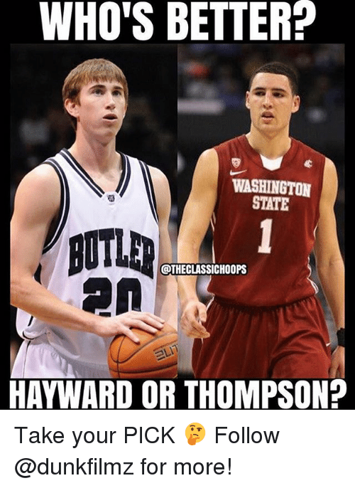 Hayward: WHO'S BETTER?  WASHINGTON  STATE  @THECLASSICHOOPS  HAYWARD OR THOMPSON? Take your PICK 🤔 Follow @dunkfilmz for more!
