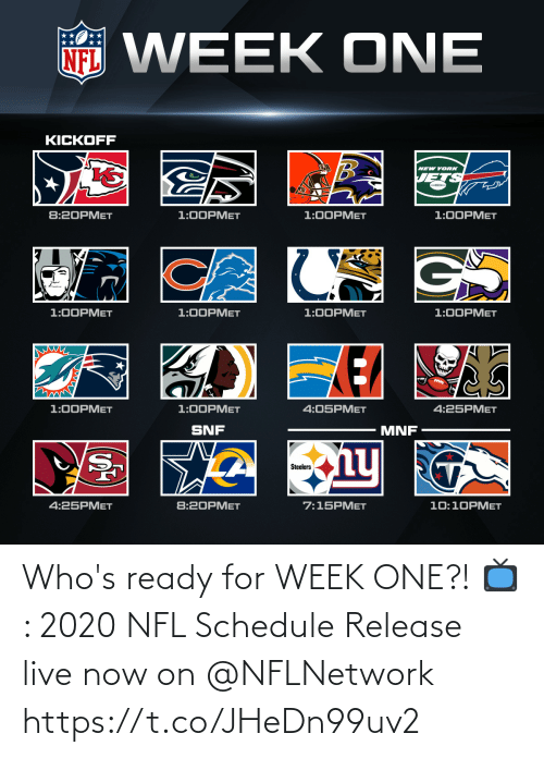 nflnetwork: Who's ready for WEEK ONE?!  📺: 2020 NFL Schedule Release live now on @NFLNetwork https://t.co/JHeDn99uv2