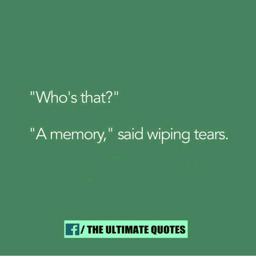 "wipes tear: ""Who's that?""  ""A memory,"" said wiping tears.  THE ULTIMATE QUOTES"