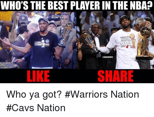 Cavs, Nba, and Best: WHO'S THE BEST PLAYERIN THE NBA  WHITE  GNBANMEMES  SHARE  LIKE Who ya got? #Warriors Nation #Cavs Nation