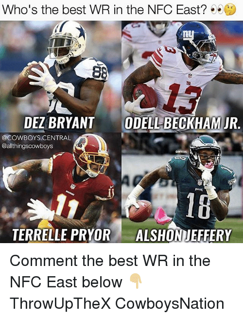 nfc east: Who's the best WR in the NFC East?  88  DEZBRYANT  ODELLBECKHAM JR.  @COWBOYS CENTRAL  @althingscowboys  TERRELLE PRYOR  ALSHONIEFFERY Comment the best WR in the NFC East below 👇🏼 ThrowUpTheX CowboysNation ✭