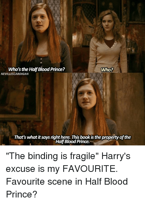 """Bloods, Books, and Memes: Who's the Half Blood Prince?  Who?  NEVILLESCARDIGAN  That's what it says right here. This book is the property of the  Half Blood Prince. """"The binding is fragile"""" Harry's excuse is my FAVOURITE. Favourite scene in Half Blood Prince?"""