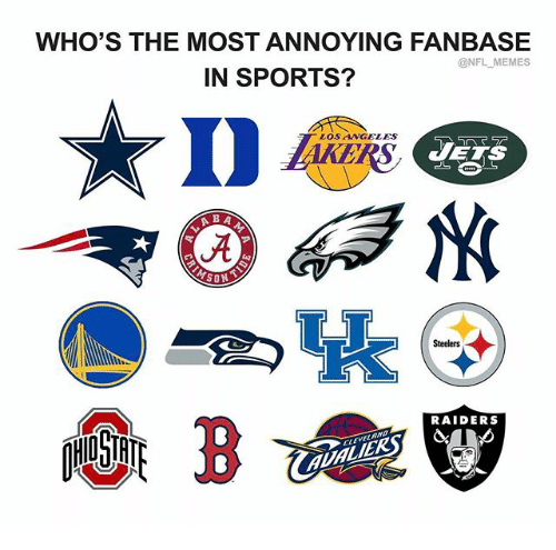 Memes, Nfl, and Sports: WHO'S THE MOST ANNOYING FANBASE  @NFL-MEMES  IN SPORTS?  D  LOS ANGELES  5へーラー  H  JETS  -퀵 @G3N  Steelers  RAIDERS  EVELMYD  心リ爽  MLMLERSY