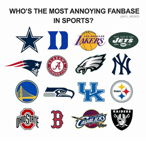 Memes, Nfl, and Sports: WHO'S THE MOST ANNOYING FANBASE  @NFL MEMES  IN SPORTS?  LOS ANGELES  Steelers  RAIDERS