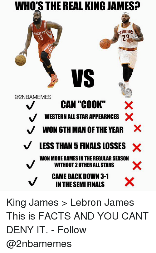 "All Star, Facts, and Finals: WHO'S THE REAL KING JAMES?  AVALIR  ROCKETS  13  VS V  @2NBAMEMES  CAN ""COOK""  V WESTERN ALL STAR APPEARNCES X  VWON 6TH MAN OF THE YEAR ×  VLESS THAN 5 FINALS LOSSES X  WON MORE GAMES IN THE REGULAR SEASON  WITHOUT 2 OTHER ALL STARS  CAME BACK DOWN 3-1  IN THE SEMI FINALS King James > Lebron James This is FACTS AND YOU CANT DENY IT. - Follow @2nbamemes"
