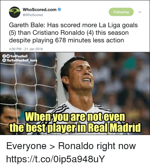 Cristiano Ronaldo, Football, and Gareth Bale: WhoScored.com  @WhoScored  Following  Gareth Bale: Has scored more La Liga goals  (5) than Cristiano Ronaldo (4) this season  despite playing 678 minutes less action  4:00 PM - 21 Jan 2018  O Trol Football  TheTrollFootball_Inst  When you are not even  the best olaverin Real Madrid Everyone > Ronaldo right now https://t.co/0ip5a948uY