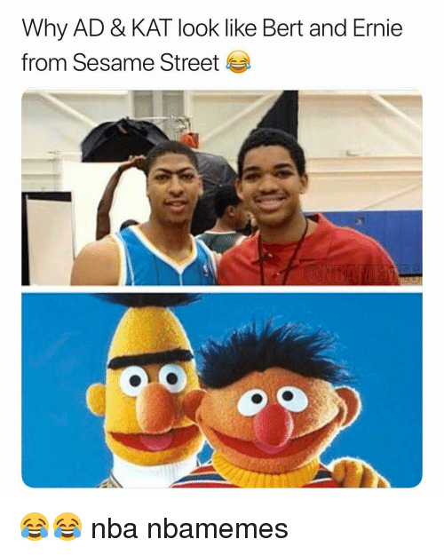 Basketball, Nba, and Sesame Street: Why AD & KAT look like Bert and Ernie  from Sesame Street 😂😂 nba nbamemes