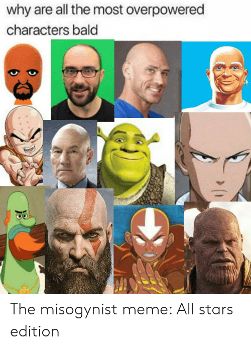 Meme All: why are all the most overpowered  characters bald The misogynist meme: All stars edition