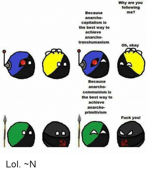 Anarcho Primitivism: Why are you  following  me?  Because  anarcho-  capitalism is  the best way to  achieve  anarcho-  transhumanism h, okay  Because  anarcho-  communism is  the best way to  achieve  anarcho  primitivism  Fuck you! Lol. ~N