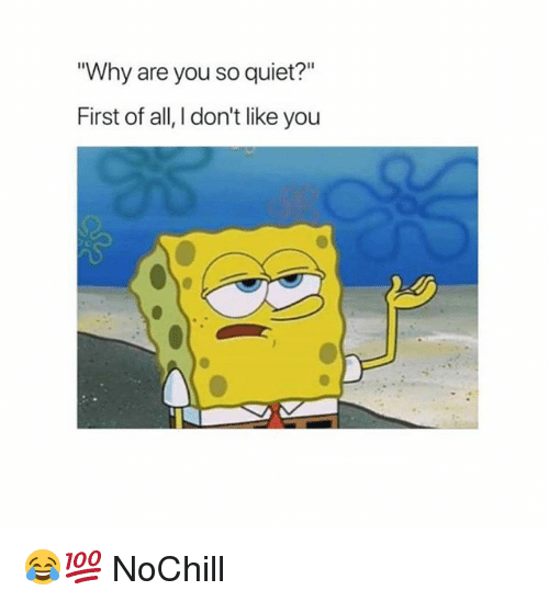 """Funny, Quiet, and Why: Why are you so quiet?""""  First of all, I don't like you 😂💯 NoChill"""