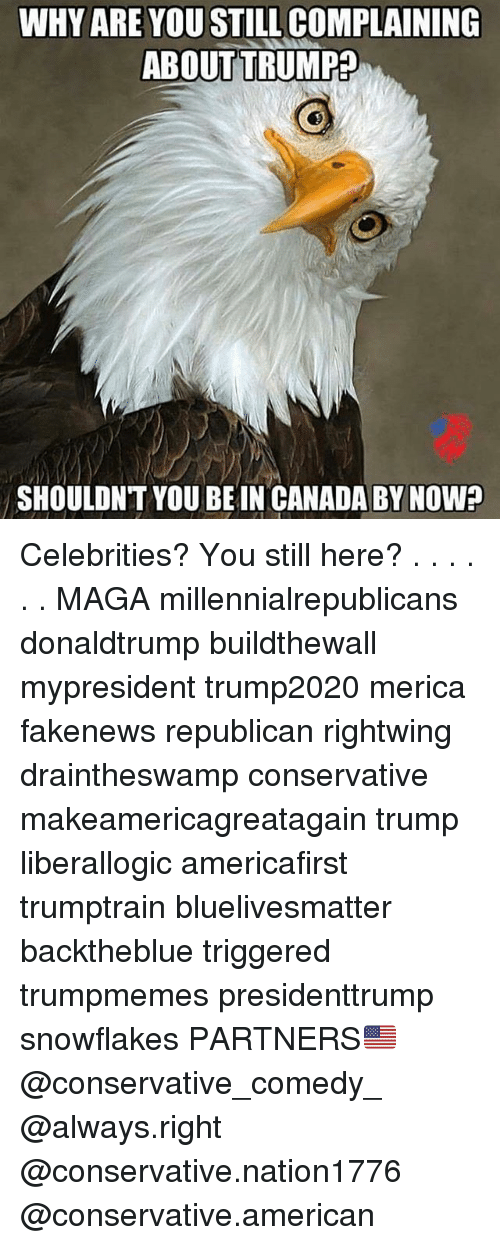 Memes, American, and Canada: WHY ARE YOU STILL COMPLAINING  ABOUT TRUMP?  SHOULDNT YOU BE IN CANADA BY NOW? Celebrities? You still here? . . . . . . MAGA millennialrepublicans donaldtrump buildthewall mypresident trump2020 merica fakenews republican rightwing draintheswamp conservative makeamericagreatagain trump liberallogic americafirst trumptrain bluelivesmatter backtheblue triggered trumpmemes presidenttrump snowflakes PARTNERS🇺🇸 @conservative_comedy_ @always.right @conservative.nation1776 @conservative.american