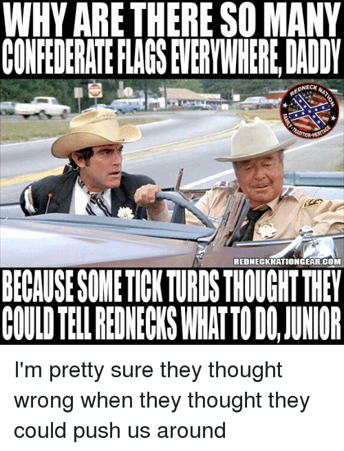turds: WHY ARETHERE SO MANY  CONFEDERATE FLAGS EVERYWHERE,DADY  ONECK  REDNECKNATIONGEAR.COM  BECAUSE SOMETICK TURDS THOUGHT THEY  COULD TELL REDNECWS WHATTO DO,JUWIOR I'm pretty sure they thought wrong when they thought they could push us around