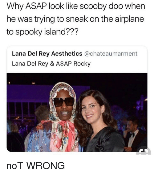 A$AP Rocky: Why ASAP look like scooby doo when  he was trying to sneak on the airplane  to spooky island???  Lana Del Rey Aesthetics @chateaumarment  Lana Del Rey & A$AP Rocky noT WRONG