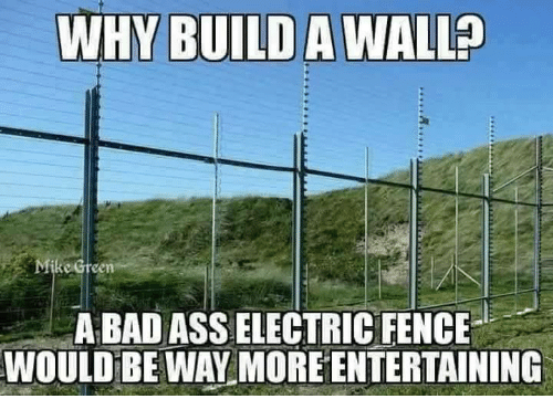 Build A Wall: WHY BUILD A WALL?  Mike Creen  A BAD ASS ELECTRIC FENCE  WOULD BEWAY MORE ENTERTAINING