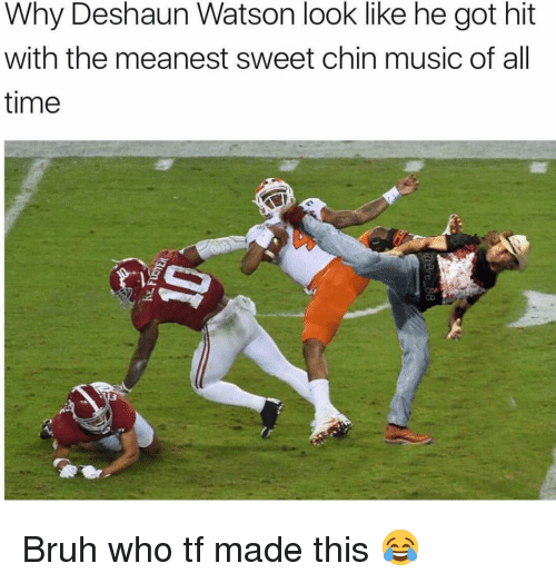 Memes, 🤖, and Watson: Why Deshaun Watson look like he got hit  with the meanest sweet chin music of all  time Bruh who tf made this 😂