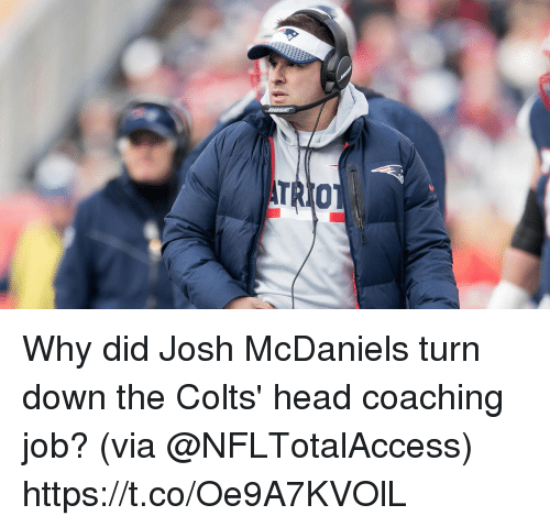 Coaching: Why did Josh McDaniels turn down the Colts' head coaching job?  (via @NFLTotalAccess) https://t.co/Oe9A7KVOlL