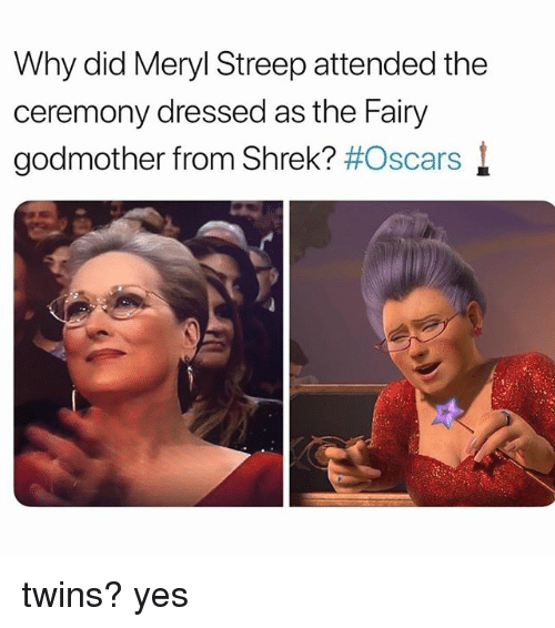 Oscars, Shrek, and Twins: Why did Meryl Streep attended the  ceremony dressed as the Fairy  godmother from Shrek? #Oscars l twins? yes