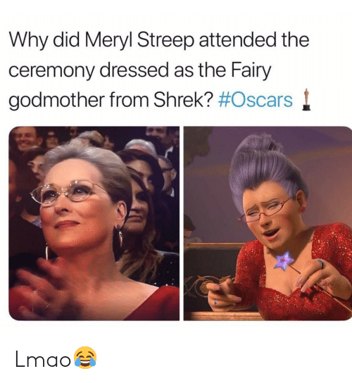 Meryl Streep: Why did Meryl Streep attended the  ceremony dressed as the Fairy  godmother from Shrek? Lmao😂