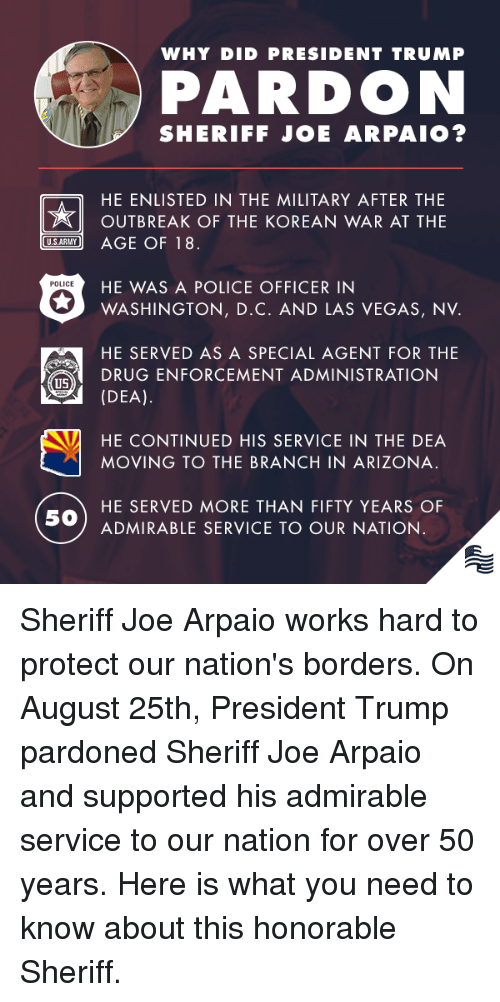 las vegas nv: WHY DID PRESIDENT TRUMP  PARDON  SHERIFF JOE ARPAIO?  HE ENLISTED IN THE MILITARY AFTER THE  OUTBREAK OF THE KOREAN WAR AT THE  SARY AGE OF 18  HE WAS A POLICE OFFICER IN  POLICE  WASHINGTON, D.C. AND LAS VEGAS, NV.  HE SERVED AS A SPECIAL AGENT FOR THE  (DEA).  HE CONTINUED HIS SERVICE IN THE DEA  DRUG ENFORCEMENT ADMINISTRATION  US  MOVING TO THE BRANCH IN ARIZONA.  HE SERVED MORE THAN FIFTY YEARS OF  50  ADMIRABLE SERVICE TO OUR NATION Sheriff Joe Arpaio works hard to protect our nation's borders. On August 25th, President Trump pardoned Sheriff Joe Arpaio and supported his admirable service to our nation for over 50 years. Here is what you need to know about this honorable Sheriff.