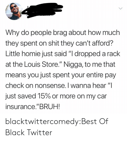 "Louis: Why do people brag about how much  they spent on shit they can't afford?  Little homie just said ""I dropped a rack  at the Louis Store."" Nigga, to me that  means you just spent your entire pay  check on nonsense. I wanna hear ""I  just saved 15% or more on my car  insurance.""BRUH! blacktwittercomedy:Best Of Black Twitter"