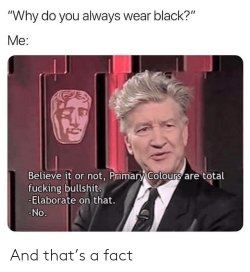 """Believe It: """"Why do you always wear black?""""  Me:  Believe it or not, Primary Colours are total  fucking bullshit.  -Elaborate on that.  No. And that's a fact"""