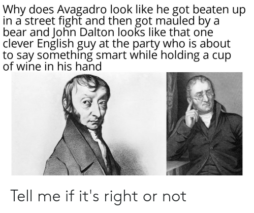 About To Say Something: Why does Avagadro look like he got beaten up  in a street fight and then got mauled by a  bear and John Dalton looks like that one  clever English guy at the party who is about  to say something smart while holding a cup  of wine in his hand Tell me if it's right or not