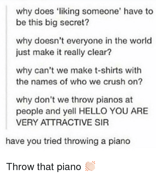names of: why does liking someone' have to  be this big secret?  why doesn't everyone in the world  just make it really clear?  why can't we make t-shirts with  the names of who we crush on?  why don't we throw pianos at  people and yell HELLO YOU ARE  VERY ATTRACTIVE SIR  have you tried throwing a piano Throw that piano 👏🏻