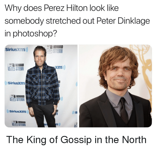 perez hilton: Why does Perez Hilton look like  somebody stretched out Peter Dinklage  in photoshop?  HOWARD  STERN  SiriusXim  HOWARD  STERN  xm  SiriusXm  HOWARD  STERN  Siriusxm  (S  ter HOWARD  17 The King of Gossip in the North