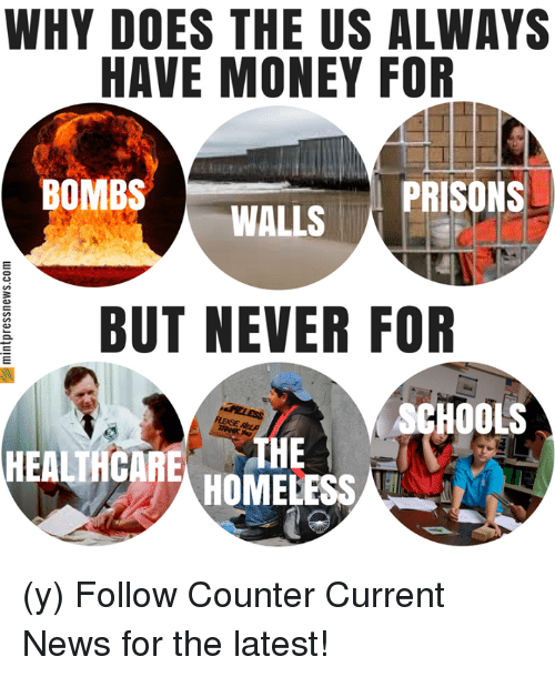 Homeless, Money, and News: WHY DOES THE US ALWAYS  HAVE MONEY FOR  BOMBS  PRISONS  WALLS  CS  BUT NEVER FOR  SCHOOLS  HEALTHCARETHE  HOMELESS (y) Follow Counter Current News for the latest!