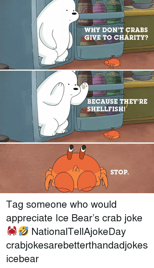 Memes, Appreciate, and Bear: WHY DON'T CRABS  GIVE TO CHARITY?  BECAUSE THEY'RE  SHELLFISH!  STOP. Tag someone who would appreciate Ice Bear's crab joke 🦀🤣 NationalTellAjokeDay crabjokesarebetterthandadjokes icebear