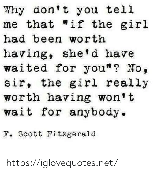 """You Tell Me: Why don't you tell  me that """"if the giril  had been worth  having, she' d have  waited for you""""? No,  sir, the girl really  worth having won't  wait for anybody.  F. Scott Fitzgerald https://iglovequotes.net/"""