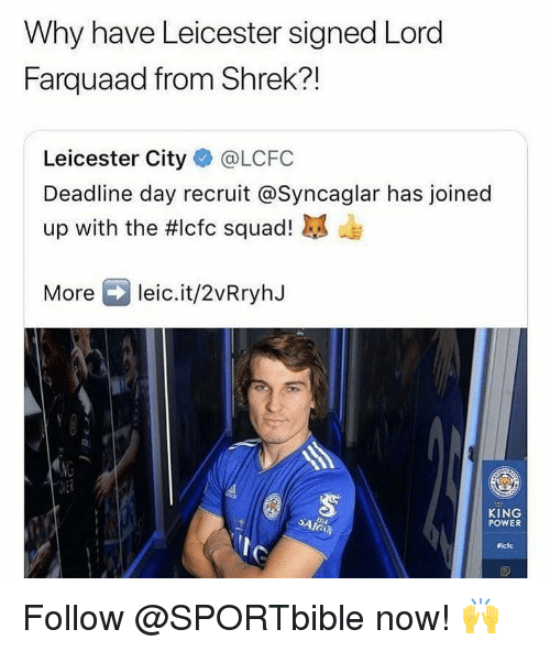 Leicester City: Why have Leicester signed Lord  Farquaad from Shrek?!  Leicester City@LCFC  Deadline day recruit @Syncaglar has joined  up with the #lcfc squad! kg de  More leic.it/2vRryhJ  KING  POWER Follow @SPORTbible now! 🙌