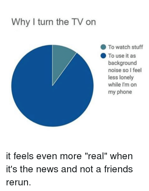 """Friends, News, and Phone: Why I turn the TV on  To watch stuff  To use it as  background  noise so I feel  less lonely  while I'm on  my phone it feels even more """"real"""" when it's the news and not a friends rerun."""