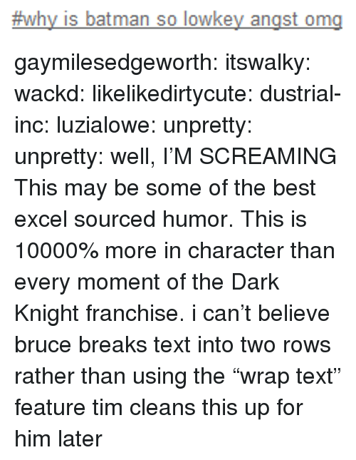 """The Dark Knight:  #why is batman so lowkey angst ong gaymilesedgeworth:  itswalky:  wackd:  likelikedirtycute:  dustrial-inc:  luzialowe:  unpretty:  unpretty:  well,     I'M SCREAMING  This may be some of the best excel sourced humor.   This is 10000% more in character than every moment of the Dark Knight franchise.  i can't believe bruce breaks text into two rows rather than using the""""wrap text"""" feature  tim cleans this up for him later"""