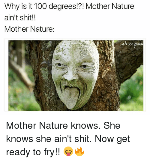 Anaconda, Memes, and She Knows: Why is it 100 degrees!?! Mother Nature  ain't shit!!  Mother Nature: Mother Nature knows. She knows she ain't shit. Now get ready to fry!! 😝🔥