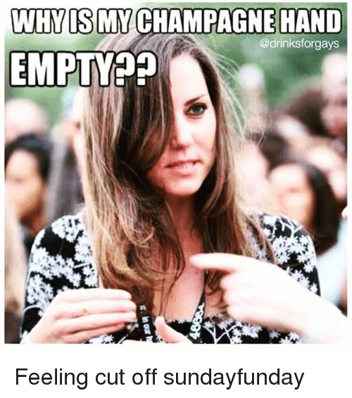 WHY IS MY CHAMPAGNE HAND EMPTY?? Feeling Cut Off Sundayfunday | Champagne Meme on SIZZLE