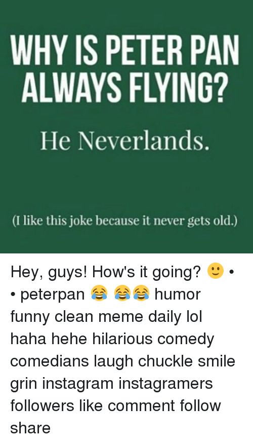 peterpan: WHY IS PETER PAN  ALWAYS FLYING?  He Neverlands.  (I like this joke because it never gets old.) Hey, guys! How's it going? 🙂 • • peterpan 😂 😂😂 humor funny clean meme daily lol haha hehe hilarious comedy comedians laugh chuckle smile grin instagram instagramers followers like comment follow share