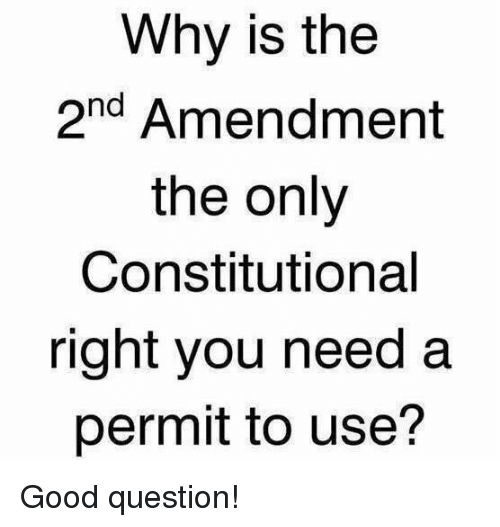 Constitutional: Why is the  2nd Amendment  the only  Constitutional  right you need a  permit to use? Good question!