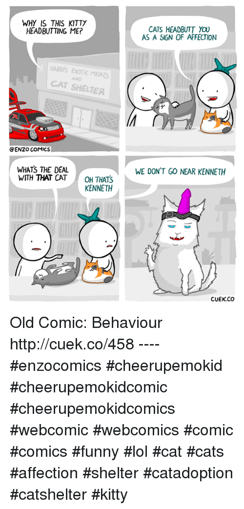 Kitties, Memes, and Affect: WHY IS THIS KITTY  HEADBUTTING ME?  HARRs EXOTIC MEAts  CAT SHELTER  CENZO COMICS  WHATS THE DEAL  WITH THAT CAT  OH THATS  KENNETH  CATS HEADBUTT YOU  AS A SIGN OF AFFECTION  WE DON'T GO NEAR KENNETH  CUEK.CO Old Comic: Behaviour http://cuek.co/458 ---- #enzocomics #cheerupemokid #cheerupemokidcomic #cheerupemokidcomics #webcomic #webcomics #comic #comics #funny #lol #cat #cats #affection #shelter #catadoption #catshelter #kitty