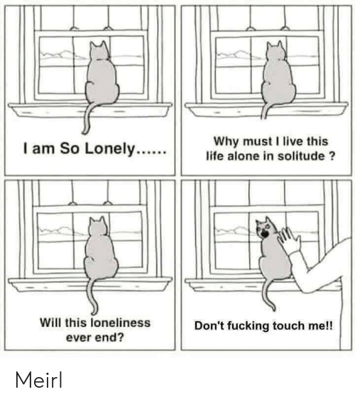 Solitude: Why must I live this  life alone in solitude ?  I am So Lonely....  Will this loneliness  ever end?  Don't fucking touch me!! Meirl