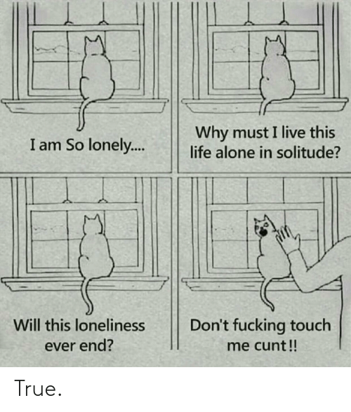 Solitude: Why must I live this  life alone in solitude?  I am So lonely...  Will this loneliness  Don't fucking touch  ever end?  me cunt!! True.