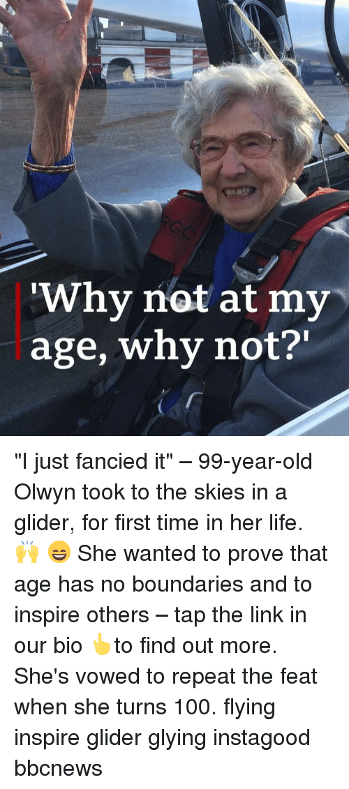 """glider: Why not at my  age, why not?' """"I just fancied it"""" – 99-year-old Olwyn took to the skies in a glider, for first time in her life. 🙌 😄 She wanted to prove that age has no boundaries and to inspire others – tap the link in our bio 👆to find out more. She's vowed to repeat the feat when she turns 100. flying inspire glider glying instagood bbcnews"""