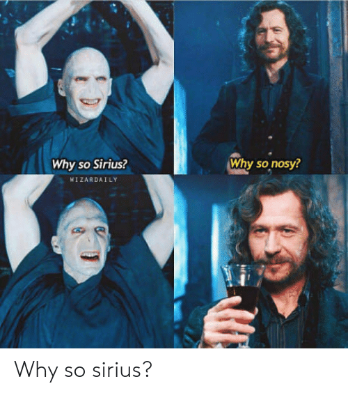 Sirius: Why so Sirius?  Why so nosy?  WIZARDAİLY Why so sirius?