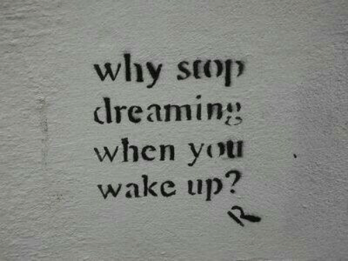 dreaming: why stop  dreaming  when yot  wake up?
